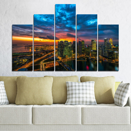 Canvas prints & wall decorative panels - 5 pieces №0586 » Blue, Black, Dark grey » Landscape, City, Lights, Night Form #5