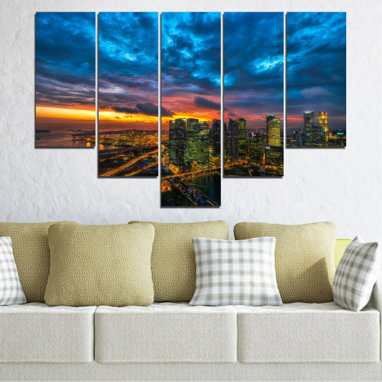 Canvas prints & wall decorative panels - 5 pieces №0586 » Blue, Black, Dark grey » Landscape, City, Lights, Night Form #6