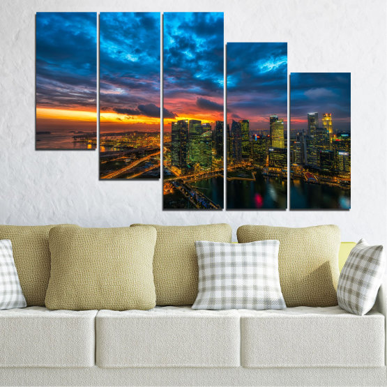 Canvas prints & wall decorative panels - 5 pieces №0586 » Blue, Black, Dark grey » Landscape, City, Lights, Night Form #7