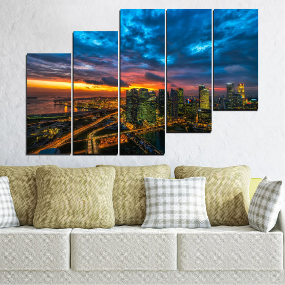 Canvas prints & wall decorative panels - 5 pieces №0586 » Blue, Black, Dark grey » Landscape, City, Lights, Night Form #8