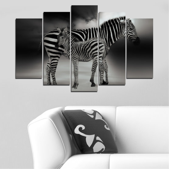Canvas prints & wall decorative panels - 5 pieces №0587 » Brown, Black, Gray, Dark grey » Animal, Collage, Portrait, Zebra Form #1