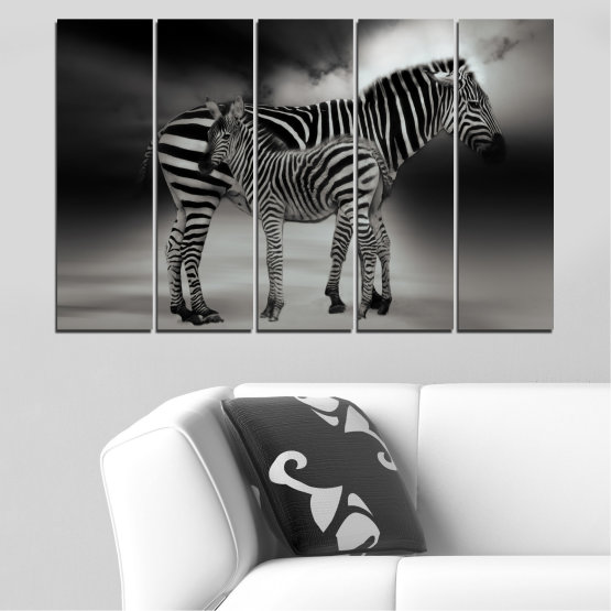 Canvas prints & wall decorative panels - 5 pieces №0587 » Brown, Black, Gray, Dark grey » Animal, Collage, Portrait, Zebra Form #2