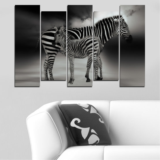 Canvas prints & wall decorative panels - 5 pieces №0587 » Brown, Black, Gray, Dark grey » Animal, Collage, Portrait, Zebra Form #3