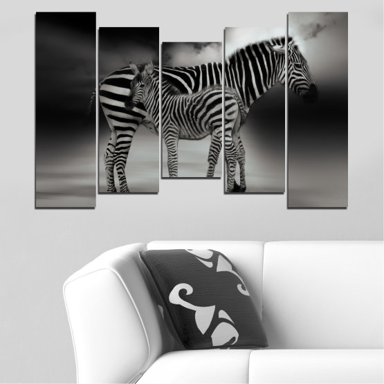 Canvas prints & wall decorative panels - 5 pieces №0587 » Brown, Black, Gray, Dark grey » Animal, Collage, Portrait, Zebra Form #4