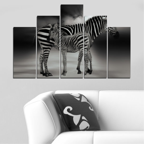 Canvas prints & wall decorative panels - 5 pieces №0587 » Brown, Black, Gray, Dark grey » Animal, Collage, Portrait, Zebra Form #5