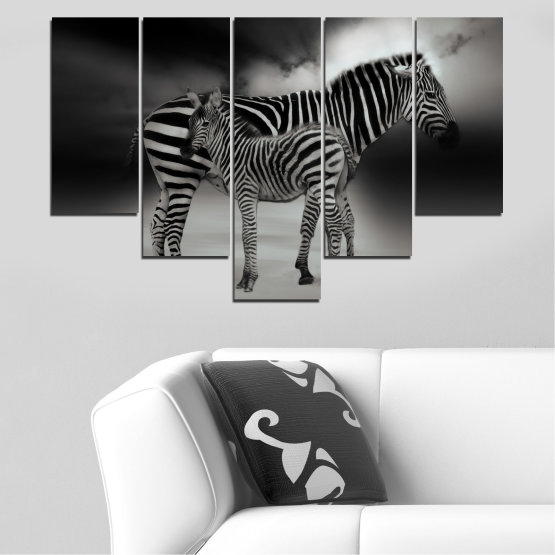 Canvas prints & wall decorative panels - 5 pieces №0587 » Brown, Black, Gray, Dark grey » Animal, Collage, Portrait, Zebra Form #6