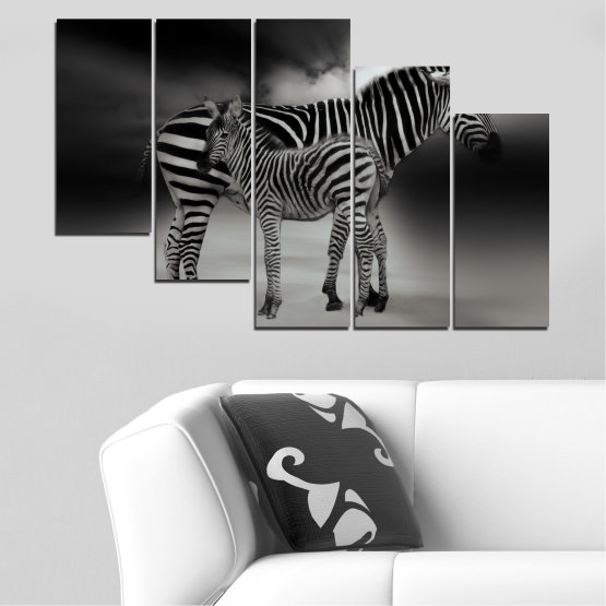 Canvas prints & wall decorative panels - 5 pieces №0587 » Brown, Black, Gray, Dark grey » Animal, Collage, Portrait, Zebra Form #7