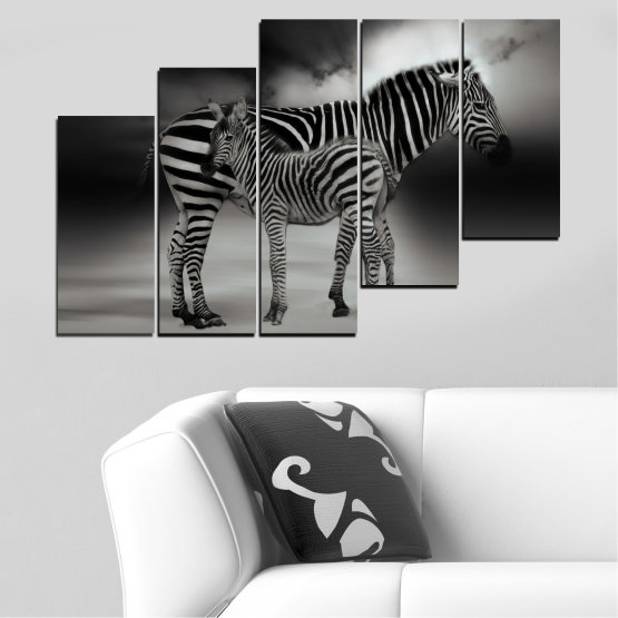 Canvas prints & wall decorative panels - 5 pieces №0587 » Brown, Black, Gray, Dark grey » Animal, Collage, Portrait, Zebra Form #8