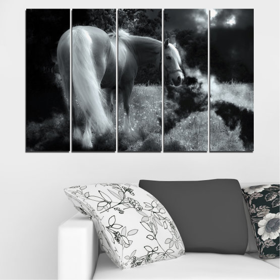 Canvas prints & wall decorative panels - 5 pieces №0588 » Black, Gray, Dark grey » Nature, Animal, Horse Form #2