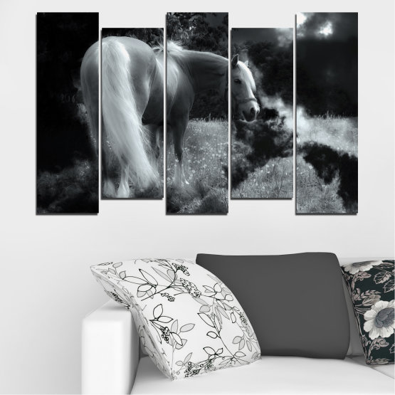 Canvas prints & wall decorative panels - 5 pieces №0588 » Black, Gray, Dark grey » Nature, Animal, Horse Form #3