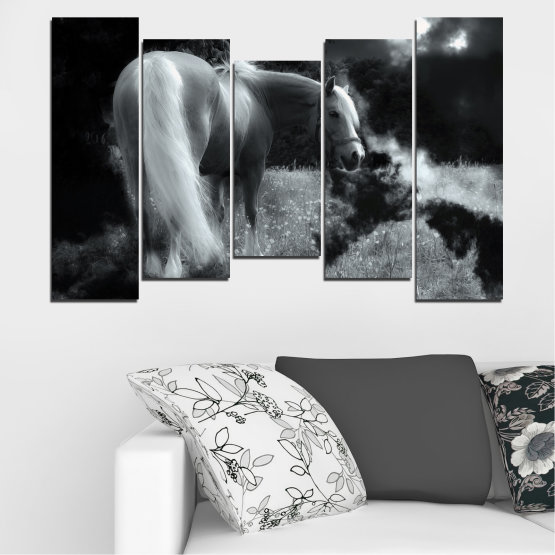 Canvas prints & wall decorative panels - 5 pieces №0588 » Black, Gray, Dark grey » Nature, Animal, Horse Form #4