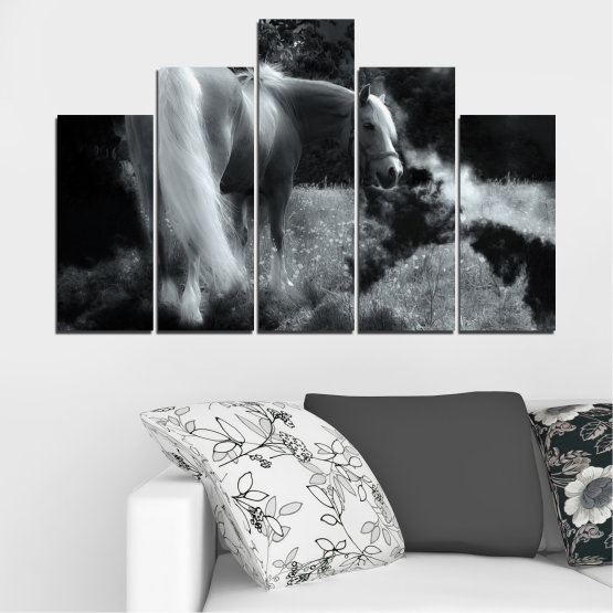Canvas prints & wall decorative panels - 5 pieces №0588 » Black, Gray, Dark grey » Nature, Animal, Horse Form #5