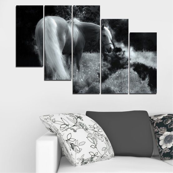 Canvas prints & wall decorative panels - 5 pieces №0588 » Black, Gray, Dark grey » Nature, Animal, Horse Form #7