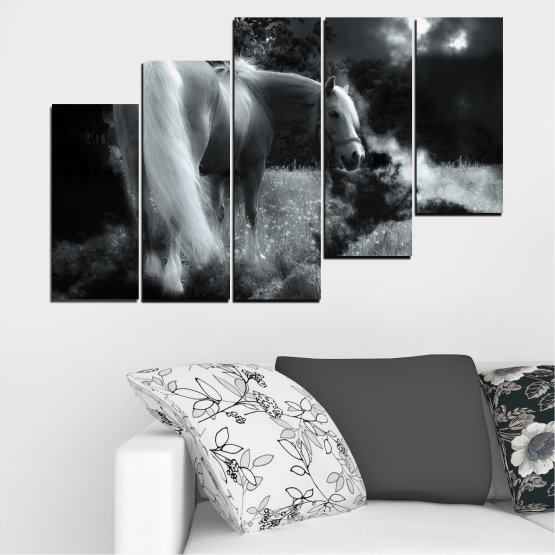 Canvas prints & wall decorative panels - 5 pieces №0588 » Black, Gray, Dark grey » Nature, Animal, Horse Form #8
