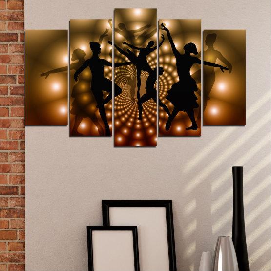 Εκτύπωση σε καμβά και διακοσμητικά πάνελ τοίχου - 5 τεμάχια №0589 » Κόκκινος, Καστανός, Μαύρος, Μπεζ » Αφαίρεση, Φώτα, Χορός, Μπαλέτο Form #1