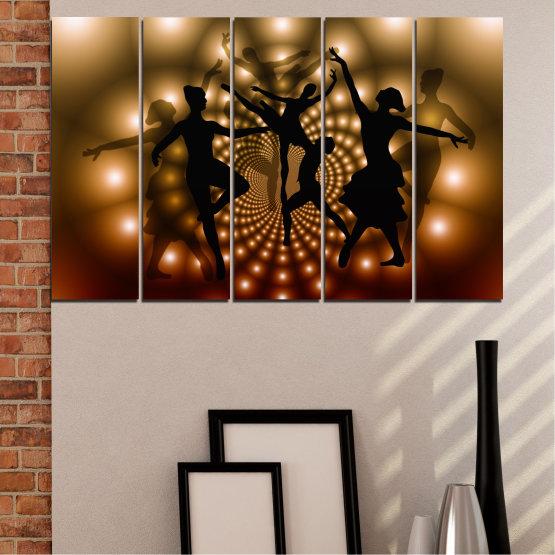 Εκτύπωση σε καμβά και διακοσμητικά πάνελ τοίχου - 5 τεμάχια №0589 » Κόκκινος, Καστανός, Μαύρος, Μπεζ » Αφαίρεση, Φώτα, Χορός, Μπαλέτο Form #2