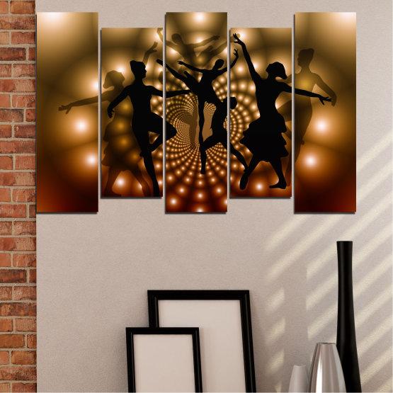 Εκτύπωση σε καμβά και διακοσμητικά πάνελ τοίχου - 5 τεμάχια №0589 » Κόκκινος, Καστανός, Μαύρος, Μπεζ » Αφαίρεση, Φώτα, Χορός, Μπαλέτο Form #3