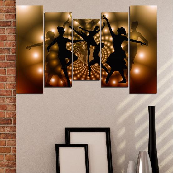 Εκτύπωση σε καμβά και διακοσμητικά πάνελ τοίχου - 5 τεμάχια №0589 » Κόκκινος, Καστανός, Μαύρος, Μπεζ » Αφαίρεση, Φώτα, Χορός, Μπαλέτο Form #4