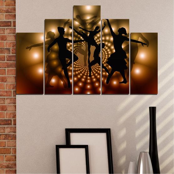 Εκτύπωση σε καμβά και διακοσμητικά πάνελ τοίχου - 5 τεμάχια №0589 » Κόκκινος, Καστανός, Μαύρος, Μπεζ » Αφαίρεση, Φώτα, Χορός, Μπαλέτο Form #5