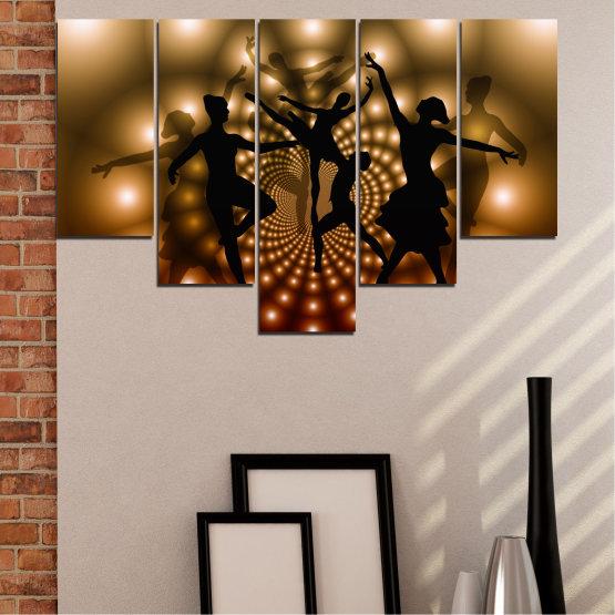 Εκτύπωση σε καμβά και διακοσμητικά πάνελ τοίχου - 5 τεμάχια №0589 » Κόκκινος, Καστανός, Μαύρος, Μπεζ » Αφαίρεση, Φώτα, Χορός, Μπαλέτο Form #6