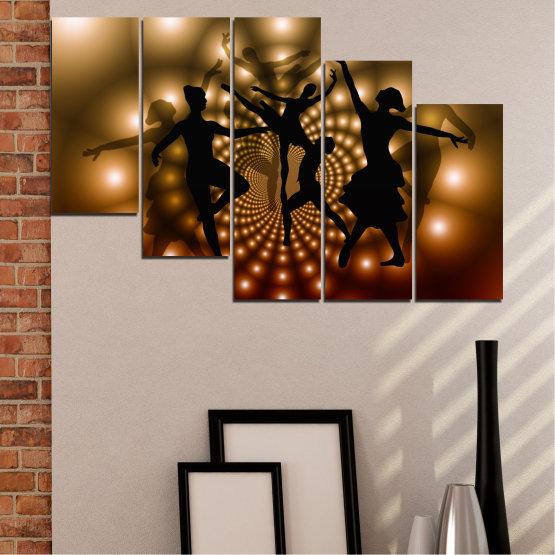 Εκτύπωση σε καμβά και διακοσμητικά πάνελ τοίχου - 5 τεμάχια №0589 » Κόκκινος, Καστανός, Μαύρος, Μπεζ » Αφαίρεση, Φώτα, Χορός, Μπαλέτο Form #7