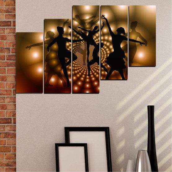 Εκτύπωση σε καμβά και διακοσμητικά πάνελ τοίχου - 5 τεμάχια №0589 » Κόκκινος, Καστανός, Μαύρος, Μπεζ » Αφαίρεση, Φώτα, Χορός, Μπαλέτο Form #8