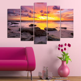 Sea, Water, Sunrise, Sky, Cloud, Rocks » Yellow, Brown, Black, Gray, Dark grey