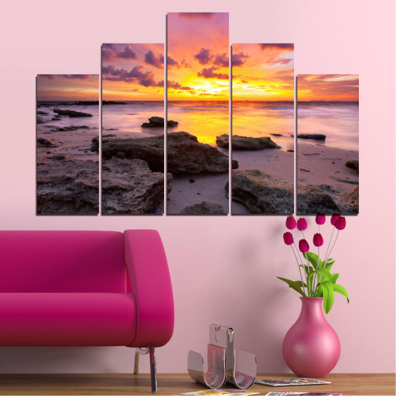 Canvas prints & wall decorative panels - 5 pieces №0059 » Yellow, Brown, Black, Gray, Dark grey » Sea, Water, Sunrise, Sky, Cloud, Rocks Form #5
