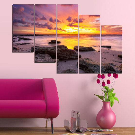 Canvas prints & wall decorative panels - 5 pieces №0059 » Yellow, Brown, Black, Gray, Dark grey » Sea, Water, Sunrise, Sky, Cloud, Rocks Form #7