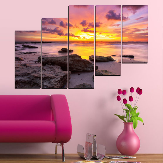 Canvas prints & wall decorative panels - 5 pieces №0059 » Yellow, Brown, Black, Gray, Dark grey » Sea, Water, Sunrise, Sky, Cloud, Rocks Form #8