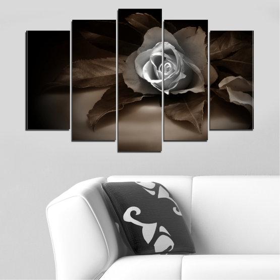 Декоративни панели и картини от канава - от 5 части №0590 » Кафяв, Черен, Сив, Тъмно сив » Цветя, Роза, Ретро Form #1