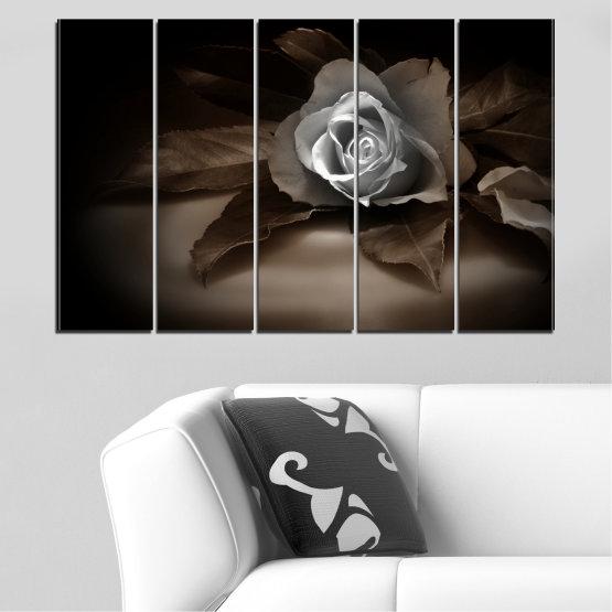 Декоративни панели и картини от канава - от 5 части №0590 » Кафяв, Черен, Сив, Тъмно сив » Цветя, Роза, Ретро Form #2