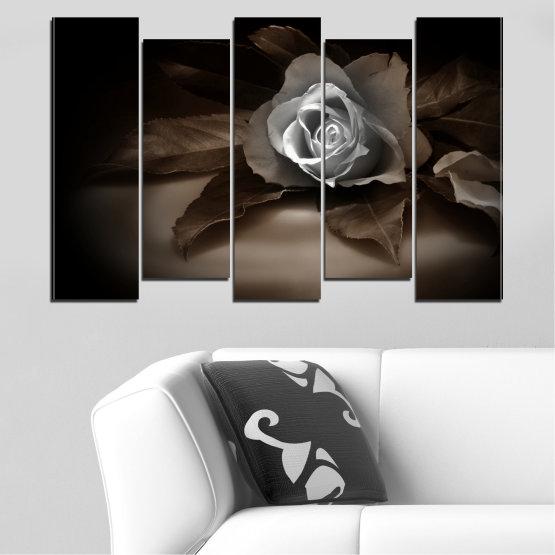Декоративни панели и картини от канава - от 5 части №0590 » Кафяв, Черен, Сив, Тъмно сив » Цветя, Роза, Ретро Form #3