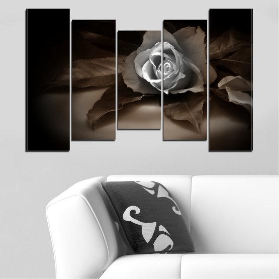 Декоративни панели и картини от канава - от 5 части №0590 » Кафяв, Черен, Сив, Тъмно сив » Цветя, Роза, Ретро Form #4