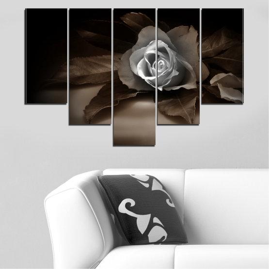 Декоративни панели и картини от канава - от 5 части №0590 » Кафяв, Черен, Сив, Тъмно сив » Цветя, Роза, Ретро Form #6