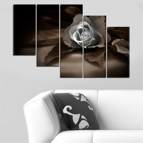 Декоративни панели и картини от канава - от 5 части №0590 » Кафяв, Черен, Сив, Тъмно сив » Цветя, Роза, Ретро Form #7