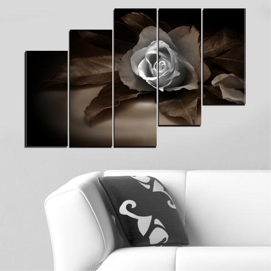 Декоративни панели и картини от канава - от 5 части №0590 » Кафяв, Черен, Сив, Тъмно сив » Цветя, Роза, Ретро Form #8