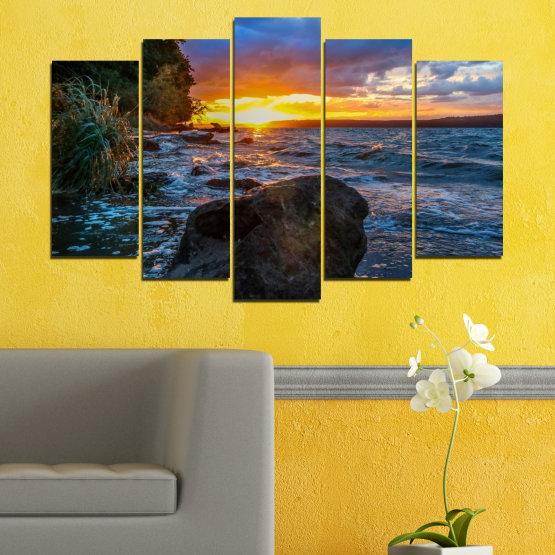Декоративни панели и картини от канава - от 5 части №0591 » Лилав, Син, Черен, Сив, Тъмно сив » Море, Природа, Пейзаж, Залез, Залив, Скали Form #1