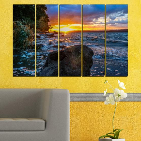 Декоративни панели и картини от канава - от 5 части №0591 » Лилав, Син, Черен, Сив, Тъмно сив » Море, Природа, Пейзаж, Залез, Залив, Скали Form #2
