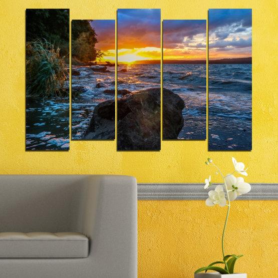 Декоративни панели и картини от канава - от 5 части №0591 » Лилав, Син, Черен, Сив, Тъмно сив » Море, Природа, Пейзаж, Залез, Залив, Скали Form #3