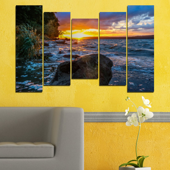 Декоративни панели и картини от канава - от 5 части №0591 » Лилав, Син, Черен, Сив, Тъмно сив » Море, Природа, Пейзаж, Залез, Залив, Скали Form #4