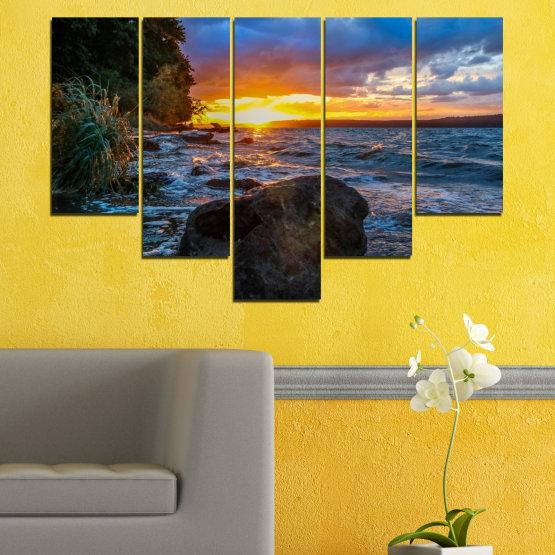 Canvas prints & wall decorative panels - 5 pieces №0591 » Purple, Blue, Black, Gray, Dark grey » Sea, Nature, Landscape, Sunset, Bay, Rocks Form #6