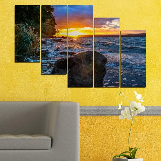 Декоративни панели и картини от канава - от 5 части №0591 » Лилав, Син, Черен, Сив, Тъмно сив » Море, Природа, Пейзаж, Залез, Залив, Скали Form #7
