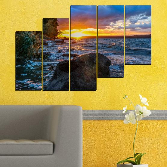 Canvas prints & wall decorative panels - 5 pieces №0591 » Purple, Blue, Black, Gray, Dark grey » Sea, Nature, Landscape, Sunset, Bay, Rocks Form #8
