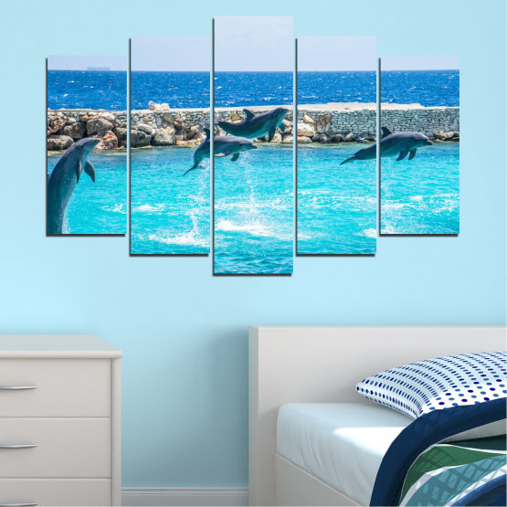 Canvas prints & wall decorative panels - 5 pieces №0592 » Blue, Turquoise, Gray, Dark grey » Animal, Sea, Water, Dolphin, Fish Form #1