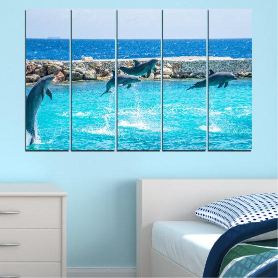 Εκτύπωση σε καμβά και διακοσμητικά πάνελ τοίχου - 5 τεμάχια №0592 » Μπλε, Τουρκουάζ, Γκρί, Σκούρο γκρι » Ζώο, Θάλασσα, Νερό, Δελφίνι, Ψάρι Form #2