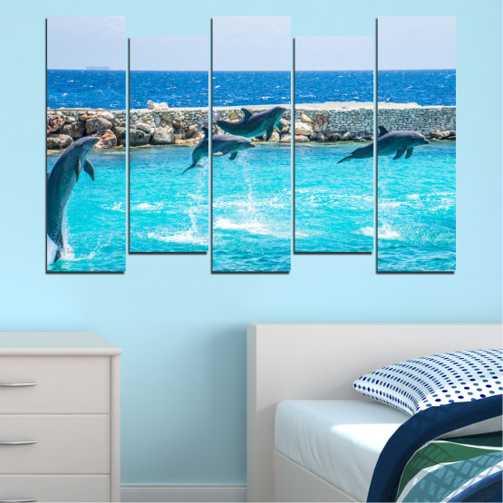 Εκτύπωση σε καμβά και διακοσμητικά πάνελ τοίχου - 5 τεμάχια №0592 » Μπλε, Τουρκουάζ, Γκρί, Σκούρο γκρι » Ζώο, Θάλασσα, Νερό, Δελφίνι, Ψάρι Form #3