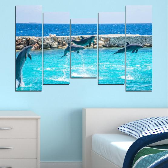 Εκτύπωση σε καμβά και διακοσμητικά πάνελ τοίχου - 5 τεμάχια №0592 » Μπλε, Τουρκουάζ, Γκρί, Σκούρο γκρι » Ζώο, Θάλασσα, Νερό, Δελφίνι, Ψάρι Form #4