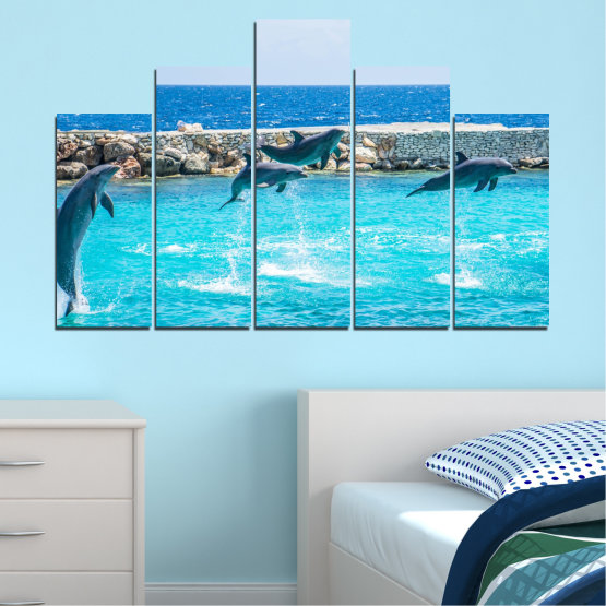 Εκτύπωση σε καμβά και διακοσμητικά πάνελ τοίχου - 5 τεμάχια №0592 » Μπλε, Τουρκουάζ, Γκρί, Σκούρο γκρι » Ζώο, Θάλασσα, Νερό, Δελφίνι, Ψάρι Form #5