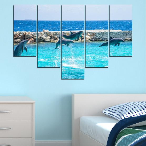Εκτύπωση σε καμβά και διακοσμητικά πάνελ τοίχου - 5 τεμάχια №0592 » Μπλε, Τουρκουάζ, Γκρί, Σκούρο γκρι » Ζώο, Θάλασσα, Νερό, Δελφίνι, Ψάρι Form #6